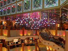 Atrium Lights on Carnival Liberty. Too much color for the house maybe, but how pretty would the lobby be with these lights on while hosting parties or concerts? Carnival Liberty, Carnival Cruise Ships, Spa Treatments, Host A Party, Atrium, Cruises, Concerts, Event Planning, Sailing