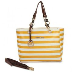 Michael Kors Striped Large Yellow Satchels