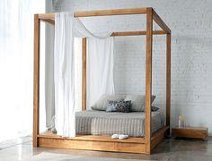 Modern canopy bed by Teak Wood Design.