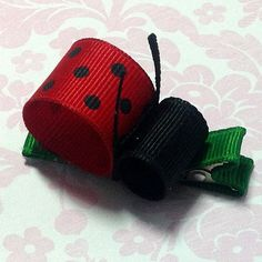 Ribbon Sculpture, Girls Hair Accessory, Girls Hair Bow, Grosgrain Hair Bow, Ladybug Hair Clip