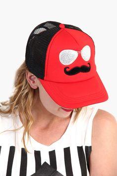Mustache Glasses Trucker Hat - Red