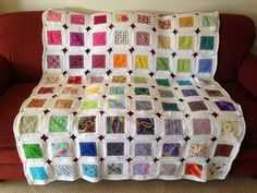 Fusion crochet blanket.  80 total squares.  Inspired by this website http://www.sewingdaisies.com.au/sewing_daisies/2011/03/kaffe-fusion-completed.html