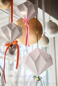Jingle Mingle: Origami Diamond Jingle Bell Ornament