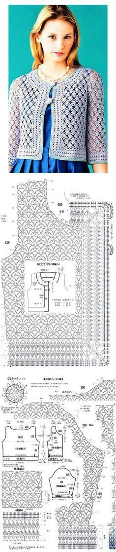 Discover thousands of images about Blusa branca crochet. O trabalho de Angela - Crochet em Gilet Crochet, Crochet Vest Pattern, Crochet Coat, Crochet Jacket, Crochet Diagram, Crochet Cardigan, Love Crochet, Beautiful Crochet, Crochet Shawl