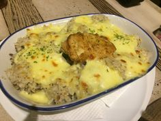 Chicken baked rice with mozzarella cheese