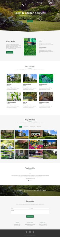 'Greenside' is a One Page HTML template suited for a horticulturist, landscape designer or garden service. Features include intro hero image, about, services, lightbox image gallery (with category filter), testimonial slider and a contact form. The design is basic but does the job and great to see theme authors focusing on niches like these.