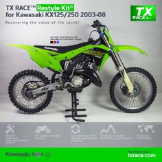TX RACE™ Restyle Plastic Kit® for Kawasaki KX125/250 2003 2004 2005 2006 2007 2008 is an update and modernization of the aesthetic line of this 2-Stroke model of Kawasaki [KX] Motocross/Enduro. TX RACE™ offers an attractive solution that is easily assembled, and no chassis modification is necessary. The TX RACE™ Restyle Plastic Kit® notably enhances the appearance of your motorcycle, more than compensating for the cost of the kit. Kawasaki Dirt Bikes, Kawasaki 250, Seat Available, Dirtbikes, Motocross, Trials, Racing, Motorcycle, Plastic