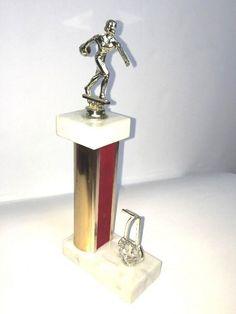 Vintage Bowling Trophy Ladies 1971 Red Velvet Marble Metal 10 in tall Stage Prop #Unbranded