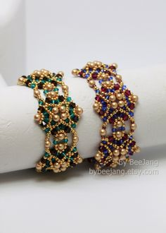 PDF Tutorial - Melvia Bracelet Beadweaving Instruction Beading Pattern Instant download di bybeejang su Etsy https://www.etsy.com/it/listing/200541754/pdf-tutorial-melvia-bracelet-beadweaving