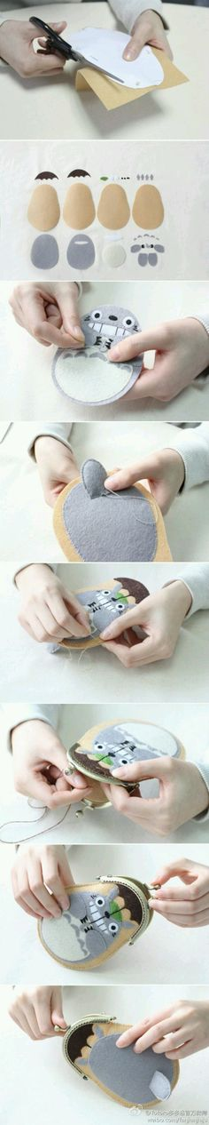 Felt Totoro coin purse -- too cute for words! --- Share yours Totoro with Society ___________________________ Cute Crafts, Felt Crafts, Fabric Crafts, Sewing Crafts, Diy And Crafts, Sewing Projects, Craft Projects, Arts And Crafts, Totoro