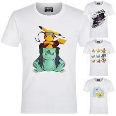 Anime Pokemon Luminous t-shirt Men/'s Tops Loose Multicolor Short Sleeve