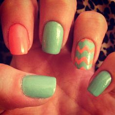 Coral and mint green chevron nails