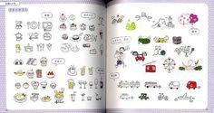 Illustrations heureux avec les stylos à bille livre de