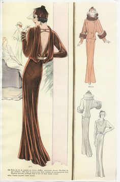 Thunderhorse Vintage! A 1930s Fashion Plate - I want this gown now!   Think of a deep rich dark blue velvet, or some sort of heavy silk...FAB