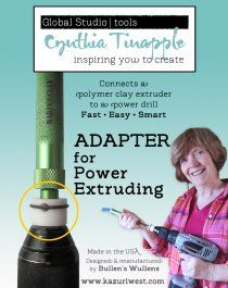 Whether you know this product by Bullen Wullens or Cynthia Tinapple's Adapter for power extruding it will make extruding easy! This adapter lets your drill do all the heavy extruding work. The Driver Clay Extruder, Polymer Clay Tools, Polymer Clay Canes, Fimo Clay, Polymer Clay Projects, Clay Beads, Clay Crafts, Polymer Clay Jewelry, Pottery Techniques