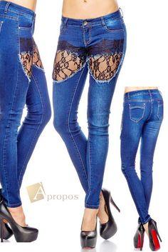 Jeans Luxus Stonewashed Denim Destroyed Spitze Strass Blau Apropos