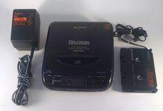 Sony D-33  Discman Personal CD Player Walkman 1991 Cassette Connector + Adapter #Sony