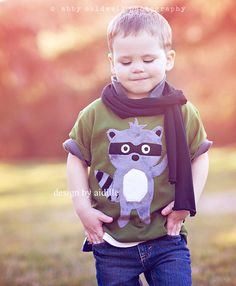 Raccoon Shirt Boys Minky Applique Tee Olive 8 by Aidille Cute Kids, Cute Babies, Baby Kids, Fashionista Kids, Boys Closet, Baby Drawing, Knitting Accessories, Kid Styles, Sewing For Kids