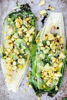 Grilled Romaine, Corn, Avocado, and Basil Salad with Lemon, Maple, Miso, Garlic, and Mirin Vinaigrette