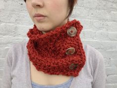 Burnt orange diagonal knit neckwarmer with buttons by KnitPrayLove, $30.00
