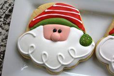 Santa Claus Sugar Cookies With Royal Icing. Santa Cookies, Christmas Sugar Cookies, Galletas Cookies, Iced Cookies, Christmas Sweets, Cute Cookies, Noel Christmas, Holiday Cookies, Christmas Baking