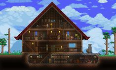 Click this image to show the full-size version. Terraria House Design, Terraria House Ideas, Terraria Tips, Minecraft Construction, Starter Home, Pixel Art, Cool Stuff, House Styles, Building