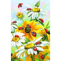 Frameless painting by numbers diy picture oil painting on canvas for home decor animal painting 4050 daisy and ladybug Art Floral, Oil Painting On Canvas, Diy Painting, Beautiful Butterflies, Beautiful Flowers, Ladybug Art, Animal Paintings, Diy Flowers, Painting Inspiration