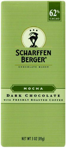 Scharffen Berger Chocolate Bar, Mocha (Dark Chocolate with Freshly Roasted Coffee) (62% Cacao), 3-Ounce Packages (Pack of 6)