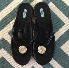 "Rave reviews for our crystal-encrusted Lucky sandals! ""These are the BEST flip flops I've ever owned. They are so comfortable, easy to clean and so adorable. I have had so many compliments from people everywhere I've worn them. Love that its made in America!"" Cheryl T (Hawaii)  #OkaB #Lucky #Sandals #Shoe #Review"