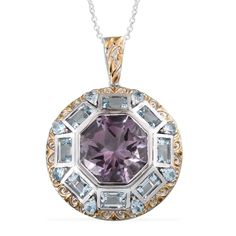 Purple Rain SUGAR by Gay Isber Rose De France Amethyst (Oct 13.10 Ct), Sky Blue Topaz Pendant With Chain (20 in) in 14K YG and Platinum Overlay Sterling Silver Nickel Free TGW 19.50 Cts.