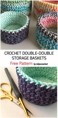 Crochet Bowl, Crochet Basket Pattern, Crochet Amigurumi, Cute Crochet, Crochet Yarn, Crochet Stitches, Crochet Baskets, Crochet Basket Tutorial, Crochet Double