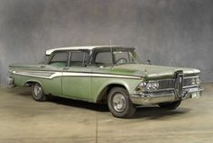 "1959 EDSEL CORSAIR SEDAN: In 1959, Edsels were offered through Mercury-Lincoln dealers as their price leader; an ""alternative Ford."" Despite product changes and restructuring, sales fell even further, and though production began on a 1960 model, the writing was on the wall. Edsel production ceased on November 19, 1959."