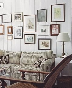 Striped sofas Living Room Furniture Best Of Striped sofa Cottage Living Room Cottage Living Rooms, Home Living Room, Coastal Living, Country Living, Striped Couch, Ticking Stripe, Ticking Fabric, Salons Cottage, Living Room Panelling