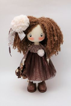CUTE DOLL - Lily made to order brown textile cloth doll gift for her