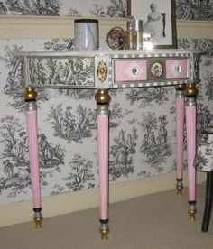 .love the Toile fabric decoupage on table