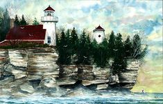 Lighthouse Cliff Painting by Steven W. Schultz