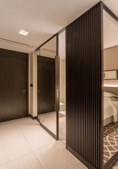 Hospitality solution- Wood sliding door with mirror- Stylish, sleek, functional and saves space - Design Middle East Sliding Doors, Middle East, Hospitality, Space Saving, Mirror, Stylish, Wood, Interior, Furniture