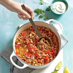 Enjoy a tasty and healthy recipe. Learn how to make Turkey chili by Chef Eric Greenspan. White Bean Chili, No Bean Chili, White Beans, Ww Recipes, Chili Recipes, Cooking Recipes, Healthy Recipes, Turkey Recipes, Chili Con Carne