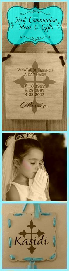 Make a special keepsake sign for a child's First Communion. Personalize with communicant's name and important dates with Uppercase Living. #firstcommunion #uppercaseliving #religious #catholic #positivewalls