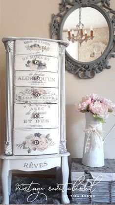 Decoupage Furniture, Refurbished Furniture, Paint Furniture, Repurposed Furniture, Shabby Chic Furniture, Vintage Furniture, Armoire Makeover, Furniture Makeover, Jewelry Armoire
