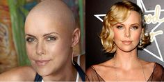 Charlize Theron thinks that ever woman should shave their hair off at some point in their life. Charlize shaved her hair off for an upcoming film and recently sported a super sleek blonde pixie crop at the Oscars. With her genes she can pull off any look including a razor cut. |celebrities with shaved heads