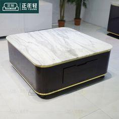 客厅方形茶几样板房简约带抽屉创意矮桌子天然大理石贴黑檀木纹皮-淘宝网