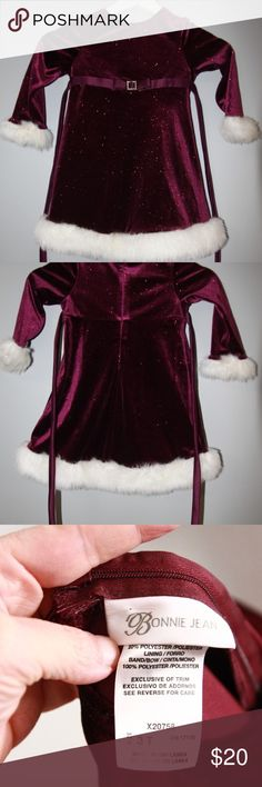 Bonnie Jean Burgundy Dress Sz 3T Beautiful holiday dress in size 3T from Bonnie Jean.   Length 20 inches  inventory 2-67 Bonnie Jean Dresses Formal