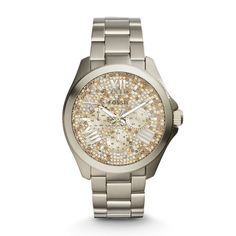 Cecile Multifunction Stainless Steel Watch with shiny sparkling champagne Crystal stones.