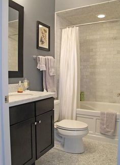 Tile - Black Vanity - Alcove Tub - Neutrals - Marble Top - Polished Chrome