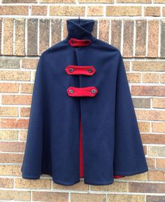 RARE Vintage 1940s Navy Blue Red Cross Wool Cape Cloak / 40s World War 2 Nurses Caplet WW11 Pinup