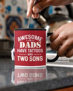 Awesome Dads Have Tattoos and Two Sons - True Red harry potter tattoos, sunflower tattoos, cat tattoos #tattoosofinstagram #mermaid #freehandtattoo, dried orange slices, yule decorations, scandinavian christmas Bike Tattoos, Foot Tattoos, Small Tattoos, Geometric Mountain Tattoo, Mountain Tattoos, Grandparents Tattoo, Free Hand Tattoo, Dried Orange Slices, Harry Potter Tattoos