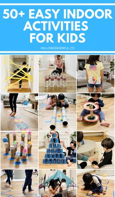 50 Plus Easy Indoor Activities for kids. Cheap, simple activities many using household items or recycled materials. Physical Activities For Kids, Indoor Activities For Kids, Indoor Games, Home Activities, Summer Activities, Toddler Activities, Learning Activities, Games For Kids, Kid Games