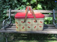 Hey, I found this really awesome Etsy listing at https://www.etsy.com/listing/453545340/tin-picnic-basket-1950s-red-and-yellow