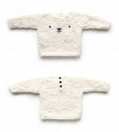 Discover thousands of images about Knitted Teddy Bear Sweater - Baby Knits - [ EASY Pattern & Tutorial ] How To Start Knitting, Knitting For Kids, Easy Knitting, Free Baby Sweater Knitting Patterns, Knit Baby Sweaters, Pull Bebe, Knitted Teddy Bear, Baby Kind, Baby Baby
